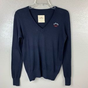 Hollister Navy V Neck Lightweight Spring Sweater